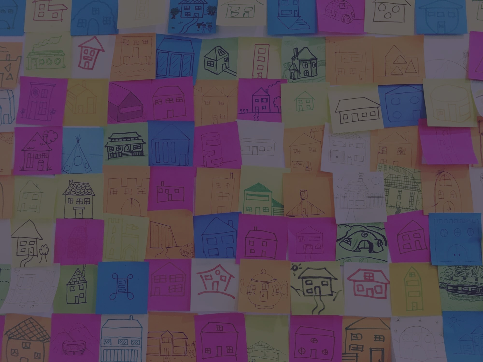 Houses drawn on post-its