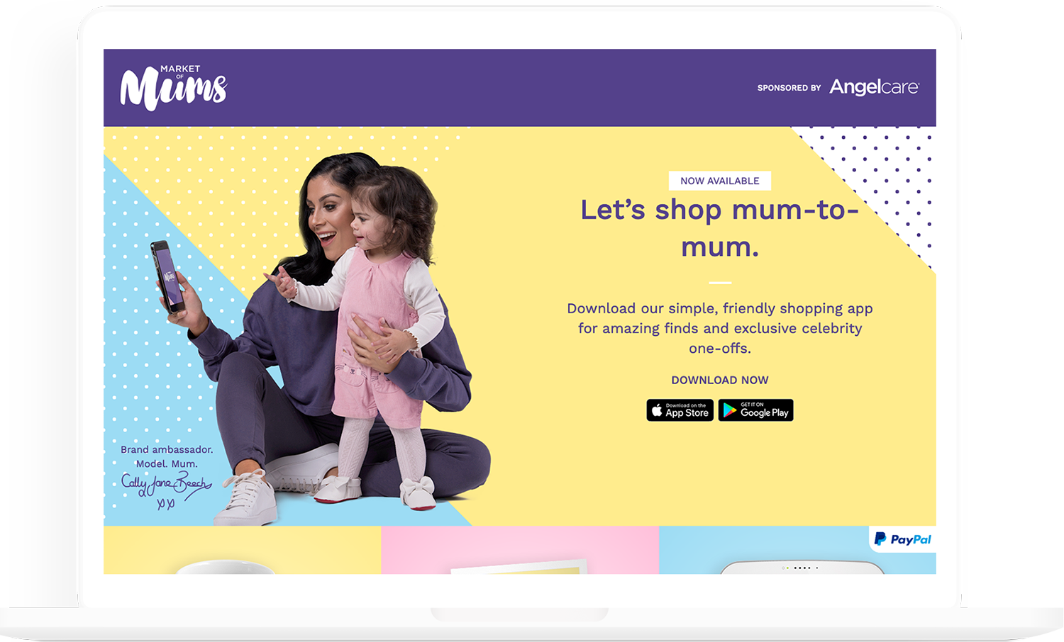 A screenshot of the Market of Mums marketing website