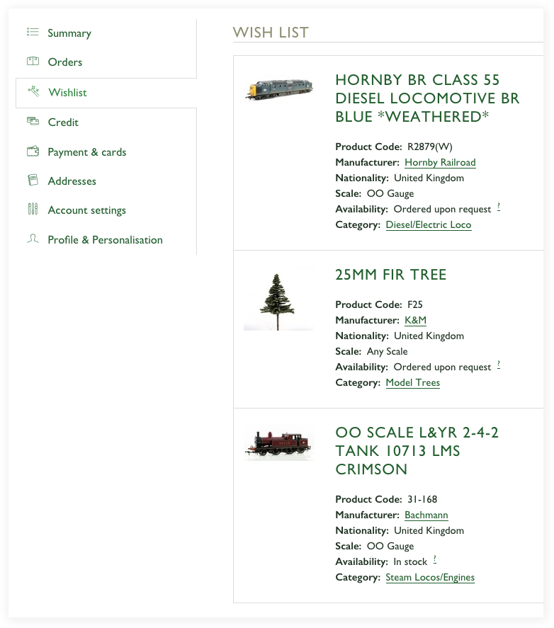 A screenshot of the wishlist feature on Rails of Sheffield website