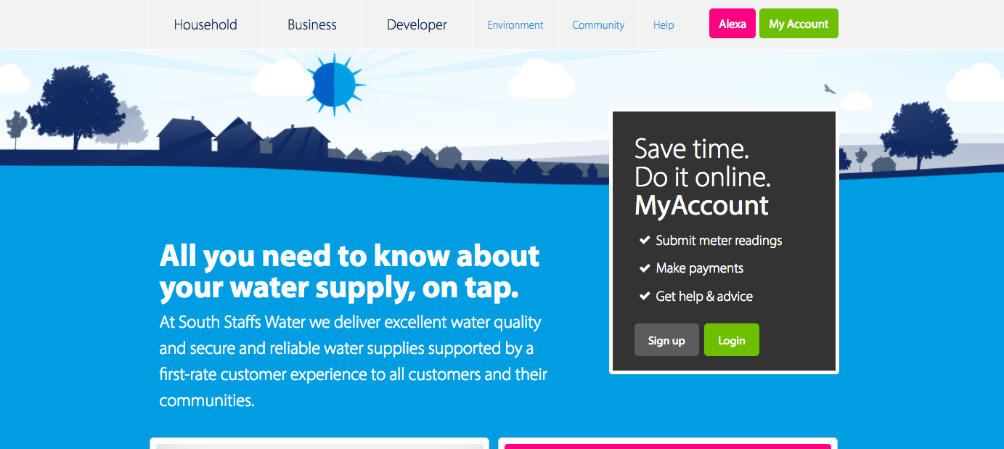 A screenshot of the South Staffs Water website