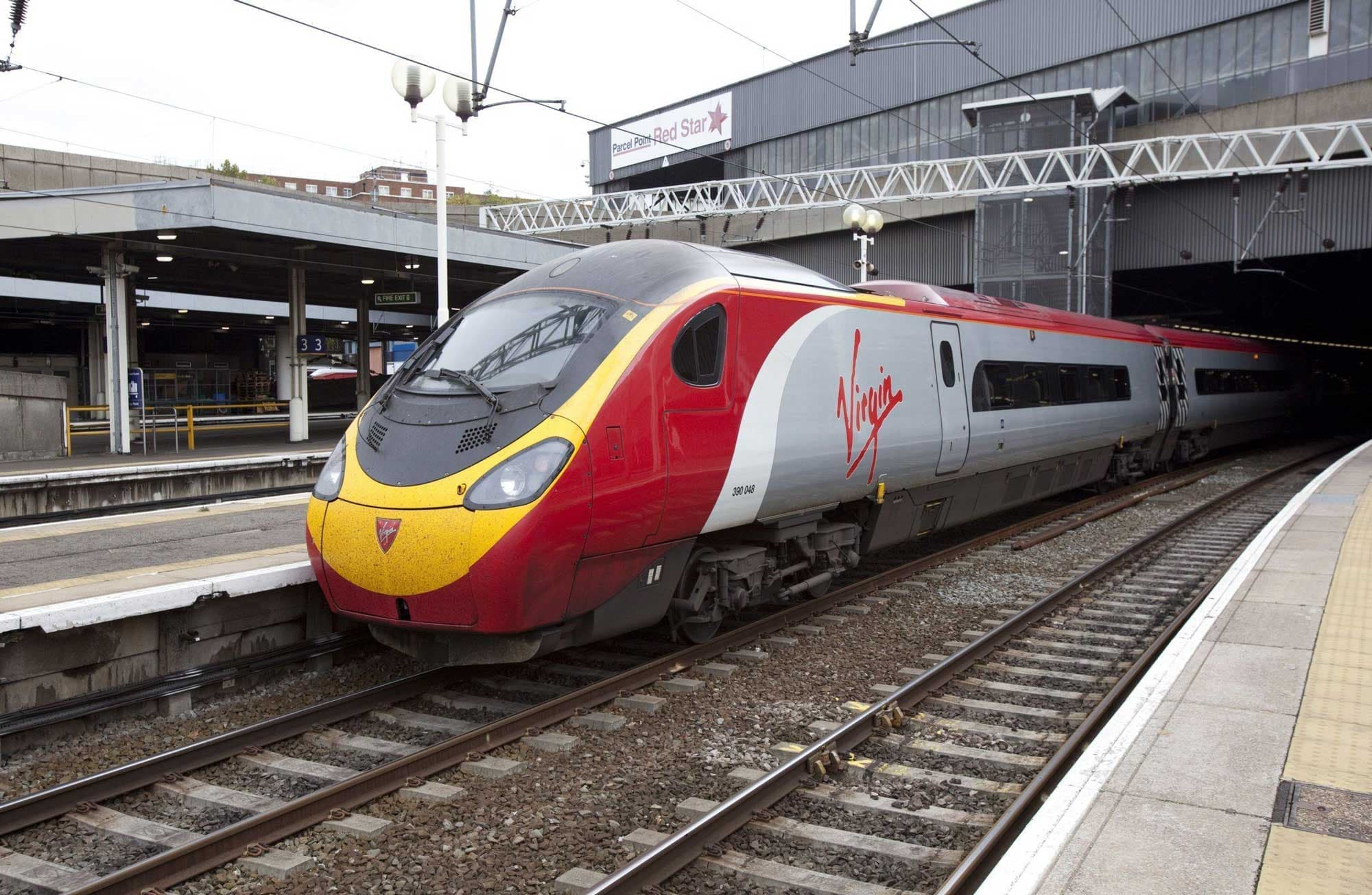 A photo of a Virgin branded train.