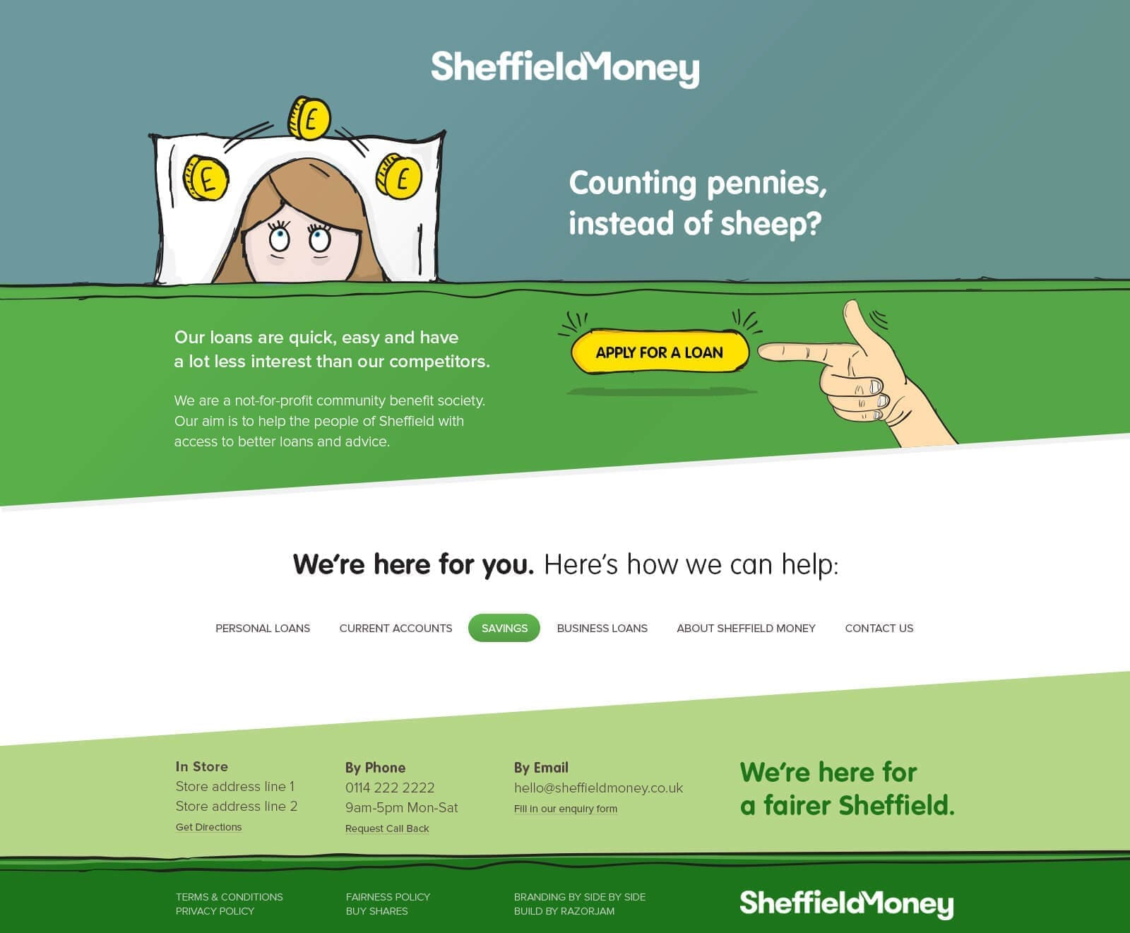 Sheffield Money Personal Loans Finished Landing Page